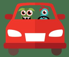 monstruito con L sonriendo conduciendo juntos con carnet de coche autoescuela ikastek bilbao